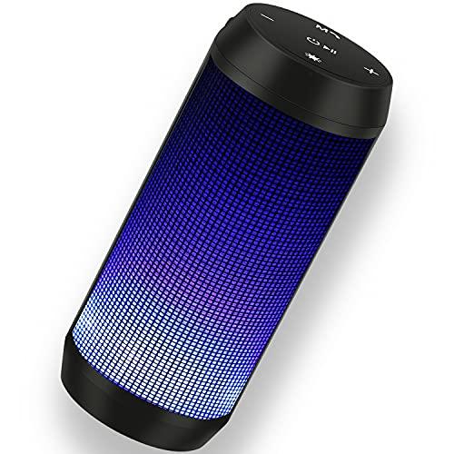 Altavoz Bluetooth Potente Portatil con Luz LED de 5 Modos Altavoces Bluetooth Estereo con Radio FM Inalambricos Recargable USB apoya TF Card/Memoria USB Altavoz (32G)
