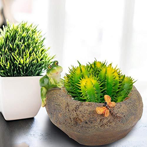 Pflanzentopf Harz Pflanzenhalter, Kaktus Blumentopf Haustier Pflanzer Mini Sukkulenten Pflanzer, Tischplatte Sukkulenten Topf Pappe(Frog predation)