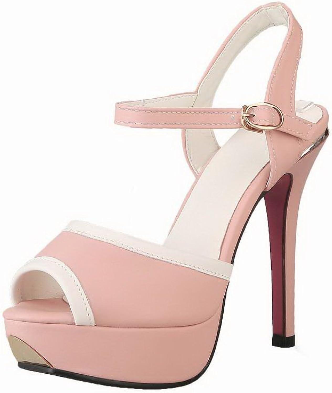 AmoonyFashion Women's Assorted color Pu High-Heels Open-Toe Buckle Sandals, BUTLT006483