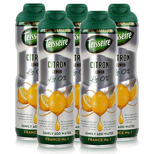 Teisseire Getränke-Sirup Lemon/Zitrone 0% - 600ml - Sirup der genauso schmeckt wie die Frucht (5er Pack)