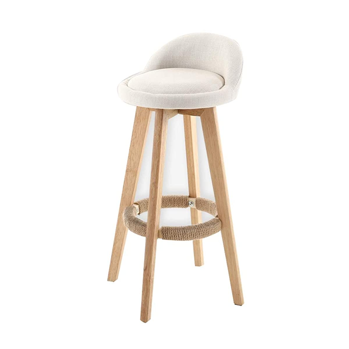 WEIYV-Barstools,bar Chair Kitchen Breakfast Bar Seating Counter Bar Chair Solid Wood High Stool Furniture Modern Style Plain Color Rotatable Linen (Color : Rice Plain, Size : 86353434cm)