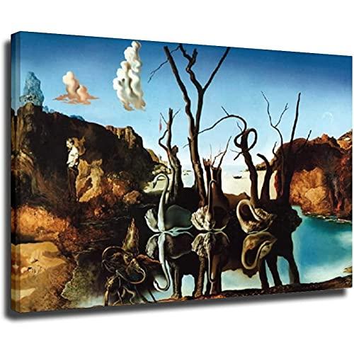 Cisnes por Salvador Dali Póster lienzo impreso arte de la pared de la sala de estar...