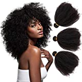 Mongolian Afro Kinkys Curly Human Hair 3 Bundles 4B 4C Afro Kinkys Bulk Human Hair Weave Weft for Black Women Natural Black 12 14 16 Inch