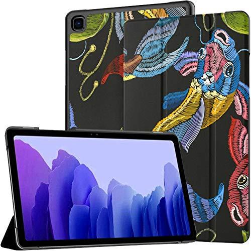 Funda para Samsung Galaxy Tab A7 de 10,4 pulgadas de 2020 con bordado de koi y lirio de agua para tablet Samsung Galaxy A7 de piel sintética