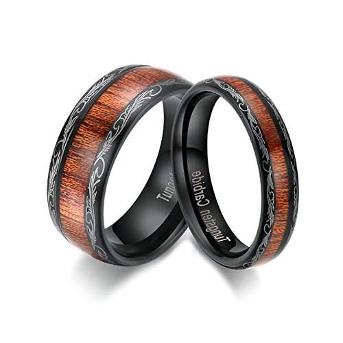 TIANYI Men's Wedding Bands 8mm Black Tungsten Carbide Engagement Promise Ring Wood Inaly Size 10