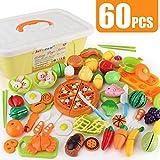 JoyGrow 60 Piezas Alimentos de Juguete Cortar Frutas Verduras Temprano Desarrollo Educación Bebé Niños Juegos para cocinar