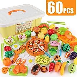 JoyGrow 60 Pezzi Tagliare i Giocattoli Taglio Frutta e Finti Alimenti, Set Gioco per Bambini, Gioco