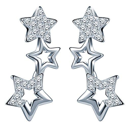 Unendlich U-Pendientes de Plata de Ley 925 con Circonitas Cúbicas y Diseño de Pequeñas Estrellas a lo Largo de la Oreja, Color Plateado