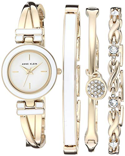 Price comparison product image Anne Klein Women's Bangle Watch and Swarovski Crystal Accented Bracelet Set