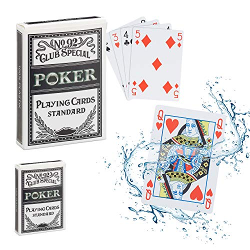 Relaxdays 2 x Pokerkarten Plastik im Set, wasserfestes Kartenspiel, reiß- & knickfest, 108 Karten, Texas Hold'em, Profi Pokerset