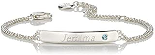 925 Sterling Silver Girl's Personalized March Aquamarine Birthstone Identity Double Chain Bracelet Arrives with Luxury Jewelry Gift Box