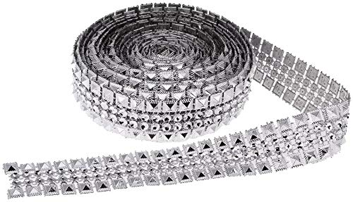 Shankh 5 Yards Diamond Ribbon Rhinestone Ribbon Sparkle Crystal Diamond Wrap Roll Stitched Fit for Birthday Decorations, Bouquet, Frame, Vases, Wedding and Party Decoration Silver