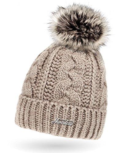 Neverless Damen Strick-Mütze gefüttert mit Fell-Bommel, Kunstfell, Winter-Mütze, Bommelmütze, hell-beige Unisize, Sigrun hell-beige, unisize