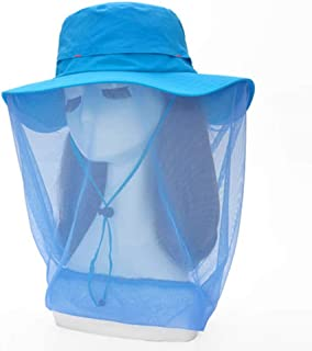 ZRL77y Wide Brimmed Sun Hat Women,Packable Ladies Summer Sun Hats,Outdoor Sunhat, with Face Neck Flap Mesh Cloth (Color : Blue)