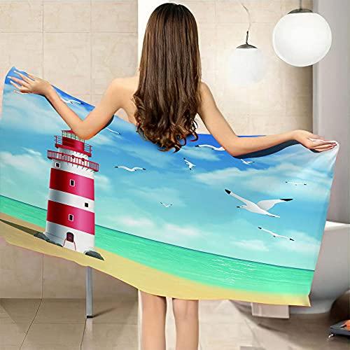 LHUTY Toalla Playa Personalizada Faro 80 x 160 cm Toalla de Playa de Microfibra, de Secado rápido, Regalo Infantil Toalla niño y niña para Piscina Playa Camping