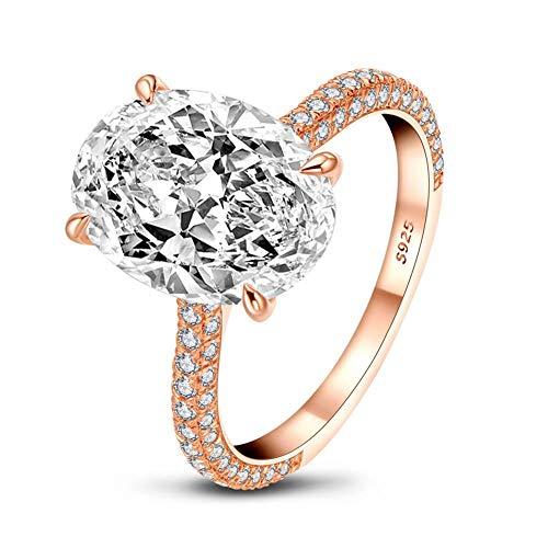 Damen 925 Sterling Silber Zirkon Ring,5 Karat ovaler Damen Ewige Verlobungsring, Jubiläum Hochzeitsschmuck Geschenk-AINUOSHI