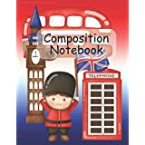 """Cute London with big ben composition notebook, 8.5"""" x 11"""": Cute lined ruled journal jotter notepad planner, 110 pages, London icons include phone box, route master bus, Big Ben, Union jack, perfect gift for adults and kids, tourists and students"""