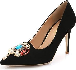 [OceanMap] 走れる パンプス 痛くない 靴 9cmヒール 黒 ブラック 美脚 疲れにくい ポインテッドトゥ ビジュー 仕事靴 ドレス パーティ ハイヒール ピンヒール スエード 立ち仕事 オフィス 春 夏 小さいサイズ 靴