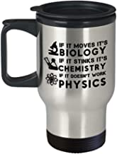 Funny Science Travel Mug If It Moves Its Biology If It Stinks Its Chemistry If It Doesnt Work Physics