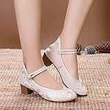 RHH Shop Bordado Mujer Mid Block Tacones de talón Bombas de Lona para Mujer Elegante Mujer algodón Zapatos Bordados (Color : Beige, Size : 37)