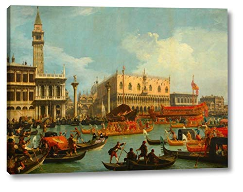 "Il ritorno del Bucintoro al molo davanti a Palazzo Ducale by Canaletto - 9"" x 12"" Canvas Art Print Gallery Wrapped - Ready to Hang"