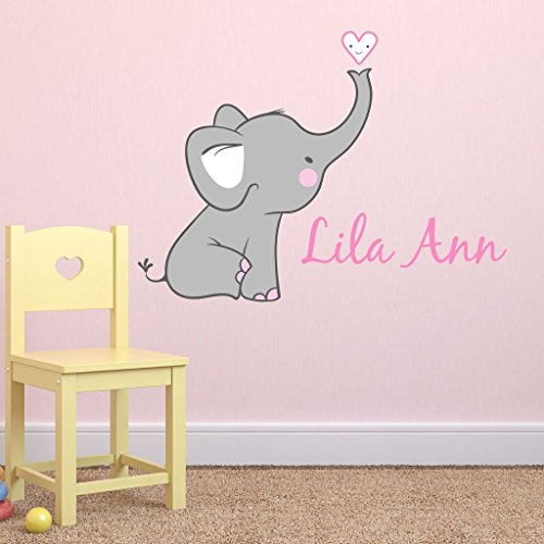 Girls Nursery Elephant Custom Personalized Name Wall Decal Large, Nursery Elephant Wall Decals, Girls Wall Decals Elephants, Nursery Decals, Nursery Wall Decals Plus Free Hello Door Decal
