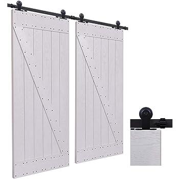 CCJH 9FT-274.5cm Herraje para Puertas Kit de Accesorios para Puerta Correderas Juego de Armarios de Acero Corredizos para Puertas Corredera Riel Rueda para Puertas de Madera Dobles: Amazon.es: Bricolaje y herramientas