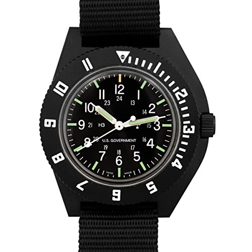 Marathon Watch Navigator Swiss Made Military Issue Pilot's Watch with Tritium. ETA F06 Movement (41mm, Black) WW194001