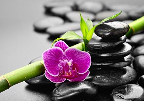 wandmotiv24 Fototapete Zen Basaltsteine und Orchidee S 200 x 140cm - 4 Teile Fototapeten, Wandbild, Motivtapeten, Vlies-Tapeten Wellnes, Spa, Entspannung M0954