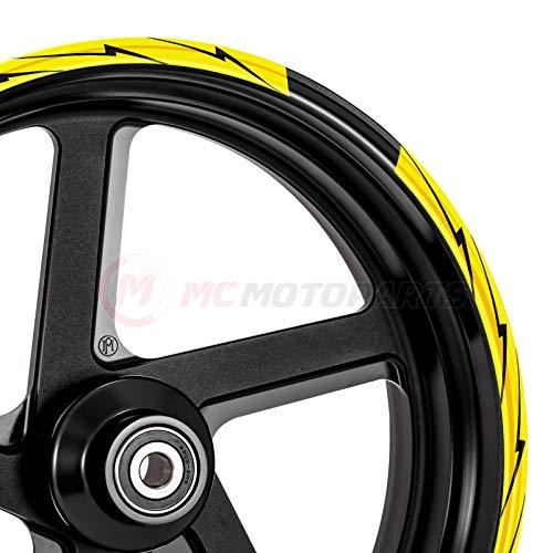 MC Motoparts Felgenaufkleber für Kawasaki, Aprilia, Honda, Yamaha, 2er-Set, 8 Stück MCWSAFLASH01BKYW17-AM001
