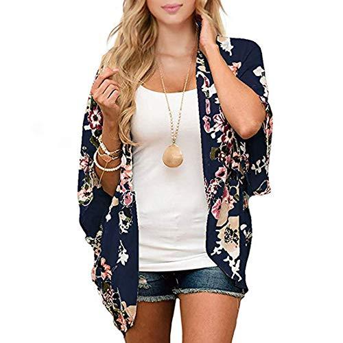 Durio - Kimono para mujer, blusa corta de verano para playa, ligera con flores azul marino L