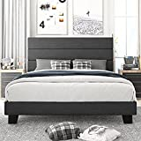 Amolife Queen Size Platform Bed Frame with Headboard and Wood Slat Support, Fabric Upholstered Low Profile Metal Frame Mattress Foundation, No Box Spring Needed, Easy Assembly, Dark Grey