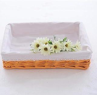 B/H Boîte de Rangement en Plastique,Panier en Osier Panier de Rangement pour Divers Articles ménagers-Honey_Rose Doublure