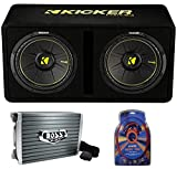 KICKER CompC Dual 12' 1200W 2-Ohm Single Vented Loaded Subwoofer Enclosure and Boss Audio 1500W Monoblock A/B Amplifier with 4 Gauge Wiring Kit