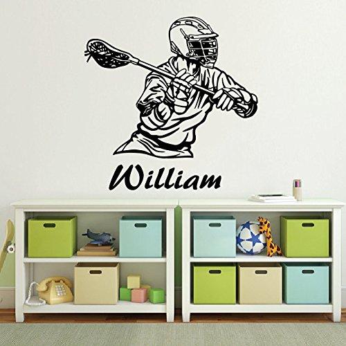 Sticker mural personnalisé pour chambre d'enfant nom personnalisé de Lacrosse nom du joueur Pour chambre de fille cadeau pour enfant en dortoir-Sticker vinyle-Sticker mural style
