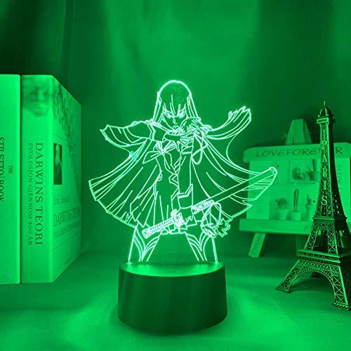 3D Nachtlicht Töten la töten Kiryuuuin Satsuki Anime LED-Licht für Schlafzimmer Decor Nightlight Kids Geburtstagsgeschenk Nachtlicht 3D Lampe Kill La Trolle ZGLQ