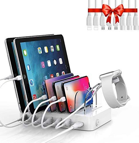 SooPii Estación de Carga USB para Varios Dispositivos, Organizador con Soporte para Cargador I Watch,8 Cables de Carga Cortos Incluidos, para Teléfonos, Tabletas y Otros Dispositivos Electrónicos