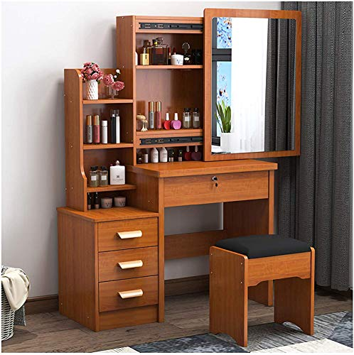Bedroom Vanity Table Set,Makeup Table With Leather Dressing Stool & Removable Mirror,Storage Shelves Organizer Dressing Table For Girl Women-Walnut 80x36x131cm(31x14x52inch)
