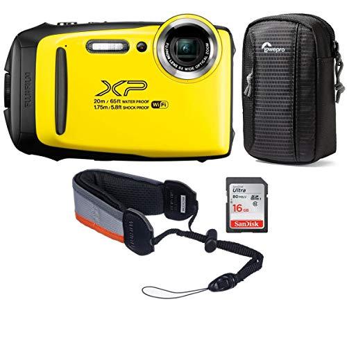 Fujifilm FinePix XP130 16.4MP Digital Camera, 5X Optical Zoom, Yellow - Bundle with 16GB SDHC Card, Camera Case, Rugged Float Strap