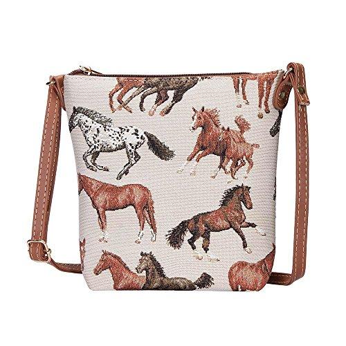 Signare Tapisserie Kleine Tasche Damen, Handtasche Damen Klein, Reisepass Tasche, Mini Handtasche mit Tier- und Haustierentwürfen (laufendes Pferd)