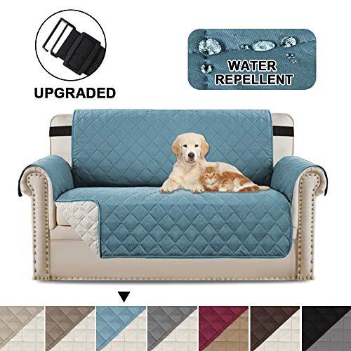 Zweisitzerabdeckungen Loveseat Schonbezugschutz, reversibel an Ort und Stelle bleiben Möbelschutzhüllen/Hussen für Hunde/Katzen (Love Seat - Smoke Blue/Beige)