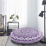 Radhykrishnafashions - Funda de cojín para suelo, diseño de mandala hippie, color morado