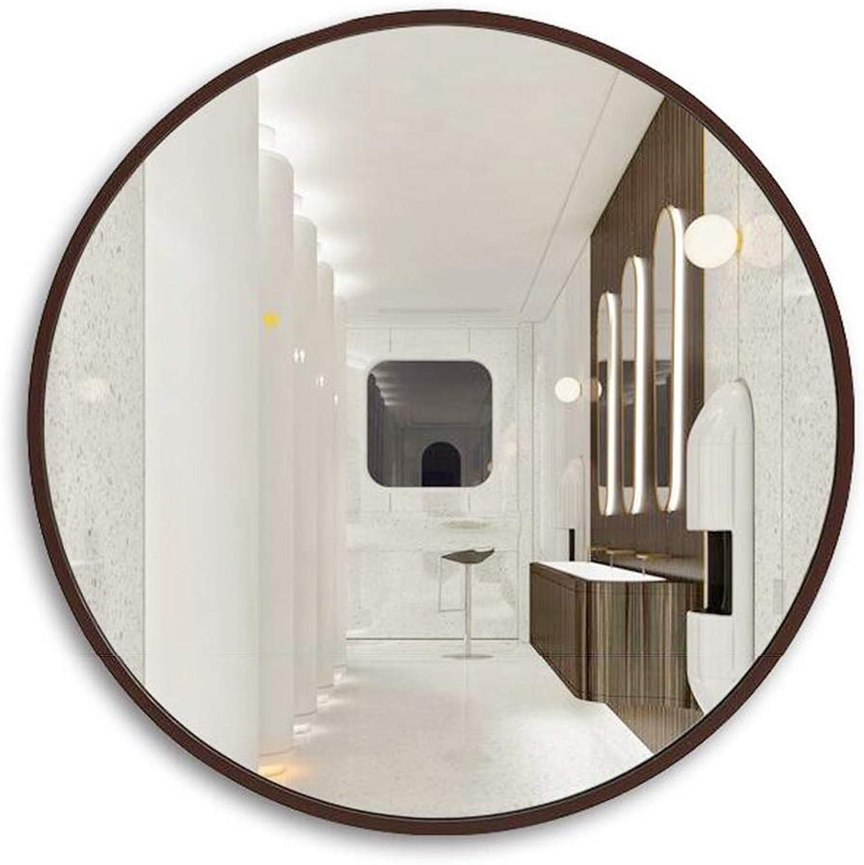 Mirror Bathroom Bathroom Mirror Makeup Mirror Toilet Bathroom Mirror Wall Hanging Mirror Large Round Mirror Decorative Mirror (color   Brown, Size   60  60cm)