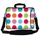 Meffort Inc 15 15.6 inch Neoprene Laptop Bag Sleeve with Extra Side Pocket, Soft Carrying Handle & Removable Shoulder Strap for 14' to 15.6' Size Notebook Computer - Rainbow Polka Dot