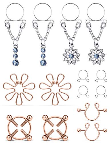 Cisyozi 5Pairs Stainless Steel Fake Nipple Rings for Women Non-Piercing Chain Dangle Nipplerings Faux Body Piercing Jewelry for Women Men