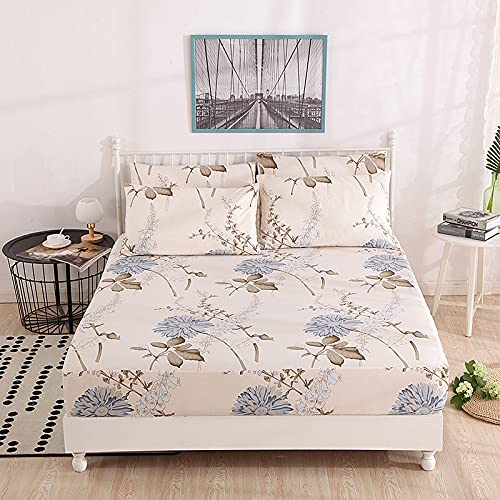 Haya - Sábana bajera de algodón para colchón, con gorros grandes y elástico, completo, 120 x 200 cm + 28 cm