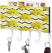 Clé murale - Crochet de clé mural, porte-clé de courrier, organisateur de clé de courrier, fleur de plante symétrique jaun...