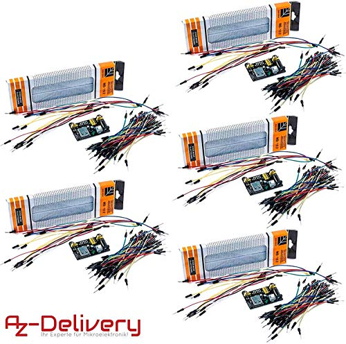AZDelivery 5 x Kit Breadboard MB 102 – Breadboard 830 + Adattatore 3,3V 5V + Set 65 pz Cavetti Jumper per Arduino con eBook