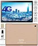 Tablet Android 10.0 Tablet Ultra-Fast 5G WI-FI Dual 4G LTE and 10.1 Inch and Octa-Core IPS Tablets : 3GB+64GB(128GB Expansion) Dual Camera, Google Certified(Verifiable Metal Body(Gold)