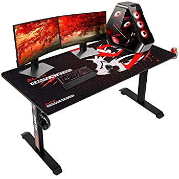 AuAg Gaming Desk 60 inch T Shaped Gaming Computer Desk with Full Mouse pad Racing E-Sports Style Gaming & Working Station with Cup Holder & Headphone Hook